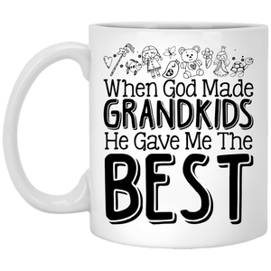 """When God Made Grandkids, He Gave Me The Best""  Coffee Mug - CustomGrace"