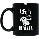 """Life Is Better With BEAGLES""    Coffee Mug (Black) - CustomGrace"