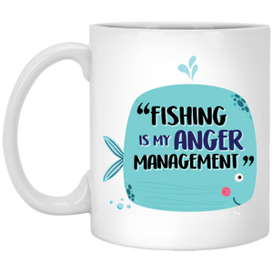 """Fishing Is My Anger Management"" Cute Fish Coffee Mug"