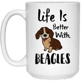 """Life Is Better With Beagles""    Coffee Mug - CustomGrace"