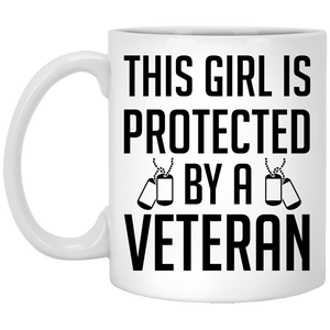 """This Girl Is Protected By A Veteran""  Coffee Mug Black and White - CustomGrace"