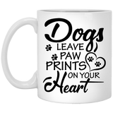 """Dogs Leave Paw Prints On Your Heart""   Coffee Mug (Black & White) - CustomGrace"