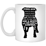 """Pitbull Mom hated by many loved by plenty....."" Coffee mug (White) - CustomGrace"