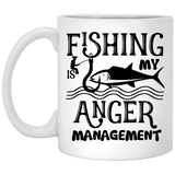 """Fishing Is My Anger Management"" Coffee Mug - CustomGrace"