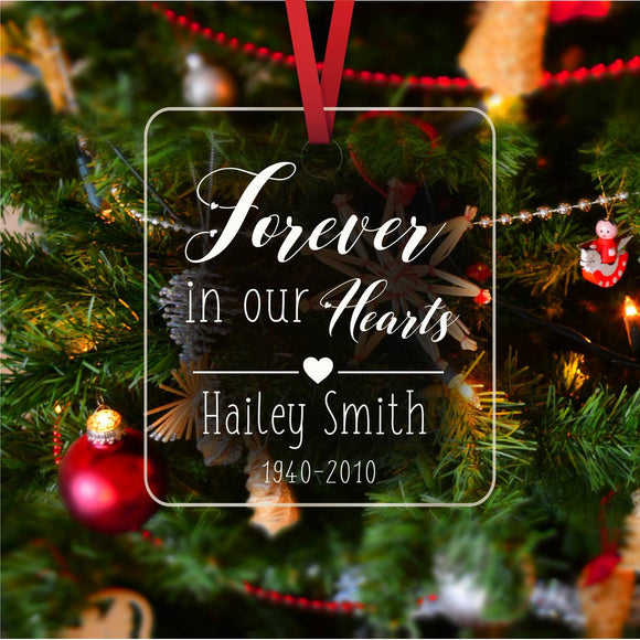 Forever in our hearts - Personalized ornament - CustomGrace