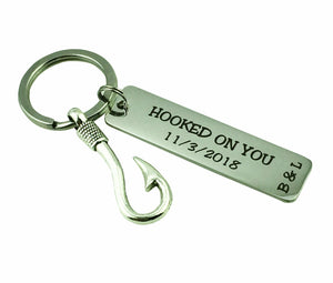 Hooked on You Personalized Keyring with Initials and Date - CustomGrace