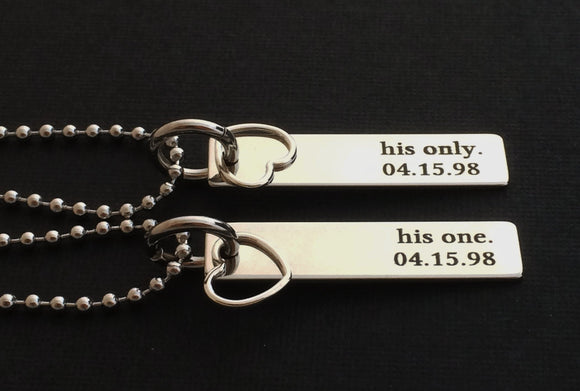 Personalized Couple Necklace Set with date (His one His only)
