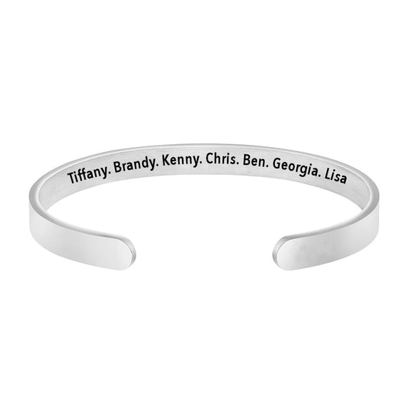 Personalized Family Names Cuff Bracelet