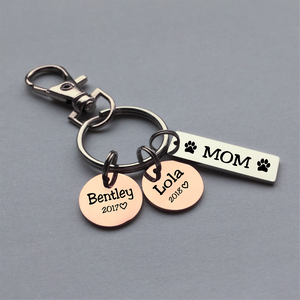 Personalized Steel Bar and Disc Keychain For Dog, Cat Mom