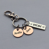 Personalized Bar and Disc Keychain for Mom, Dad, Nana, Grandma etc.