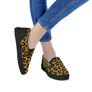 Leopard Print Black Slip On Women's Shoes