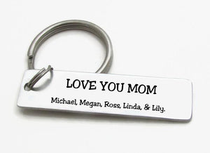 """Love you Mom"" Personalized Mothers day Keychain"