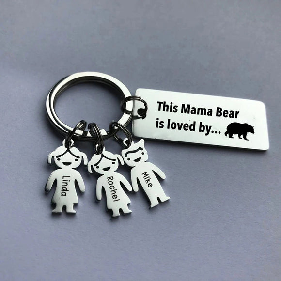 This Mama Bear is loved by - Custom Keychain