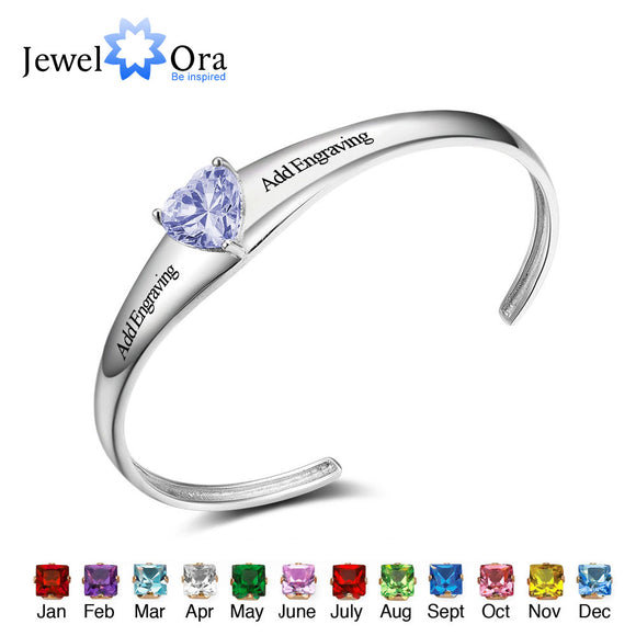 Personalized Bangle Engrave Name Custom Birthstone Promise Love Bracelets & Bangles For Women Fashion Jewelry(JewelOra BA101849)