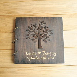 Personalized Wooden Wedding Tree Guest Book Album for Bridal Shower Custom Wedding Gifts
