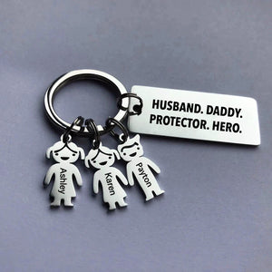 Husband. Daddy. Protector. Hero - Personalized Keychain
