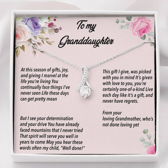 To My Granddaughter - Alluring Beauty Necklace With Poem