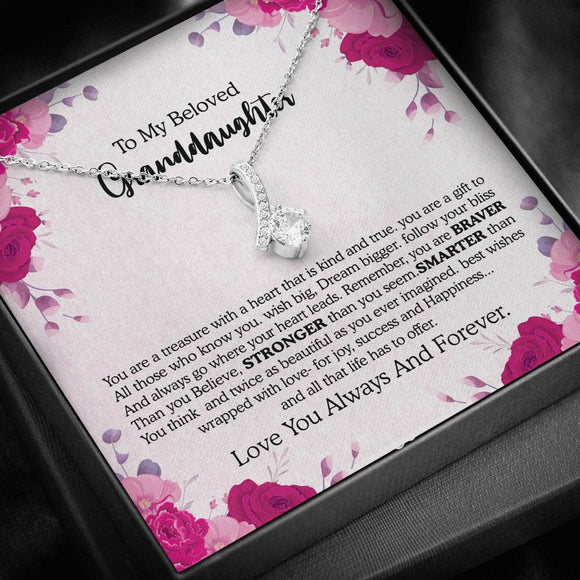 To My Granddaughter Necklace With Message Card