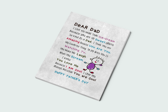 Personalize Dear Dad, Happy Father's Day Canvas