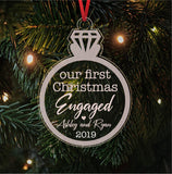 Our First Christmas Engaged Personalized Ornament