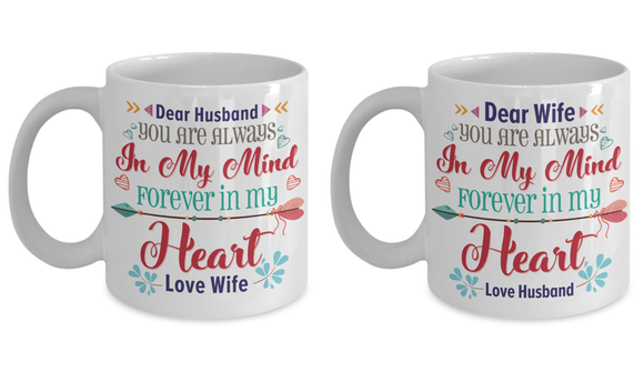 Dear Husband/Wife You Are Always In My Mind Couple Coffee Mug