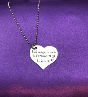 Stainless Steel Hand Stamped Anniversary Necklace / Keychain