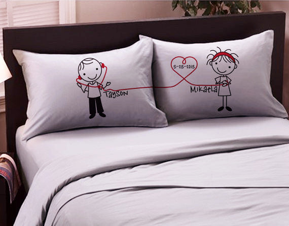 Personalized Couple Pillowcases with Name & Date