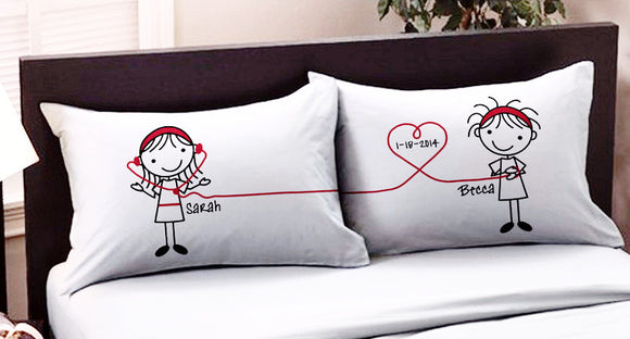 Personalized Lesbian Couple Pillowcases with Name & Date