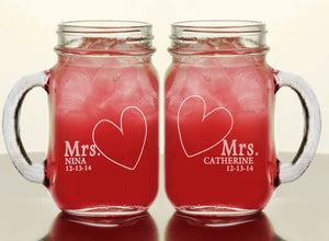 Mrs & Mrs Personalized Mason Jars with date