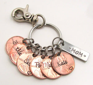 Personalized Penny Keychain For Mom, Dad, Grandma, Grandpa, Aunt