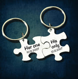 Her one His only Puzzle keychain [set of 2] - CustomGrace