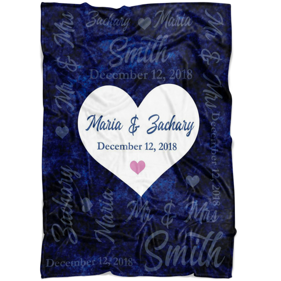 Personalised Couple Blanket with Name and Date