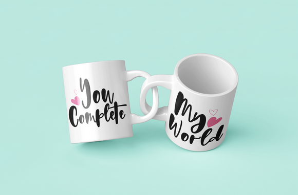 You Complete My World Couple Coffee Mug a Perfect Valentine's Day Gift
