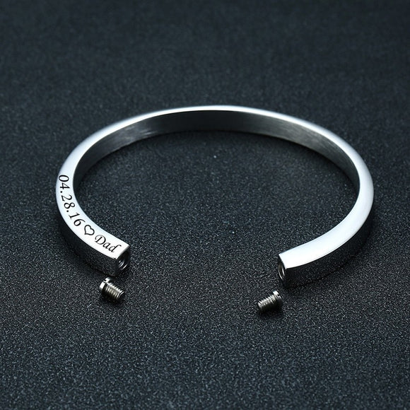 Personalized Cremation Urn Cuff Bangle Bracelet