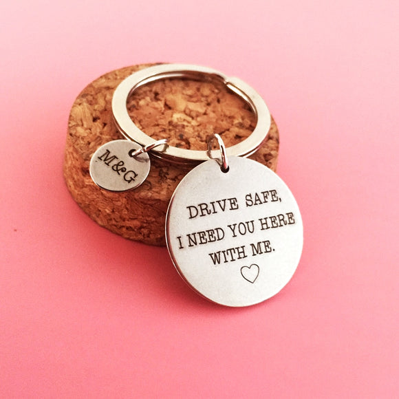 Personalized Drive Safe Keychain with initials
