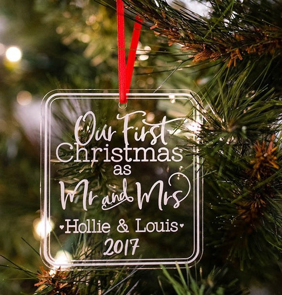Our First Christmas as Mr & Mrs Personalized Ornament