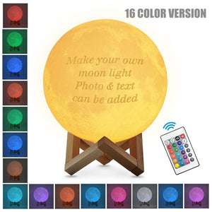 Customized 3D Print LED Moon Light Touch Switch Night Lamp with 24Keys Remote