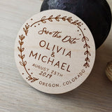 Rustic Floral Wooden Wedding save the date magnets, Laser engraved name and date