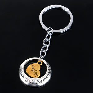 I Love you to the Moon and Back Family Keychain