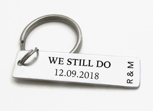 """We Still Do"" Personalized Bar Keychain With Date & Initials - CustomGrace"