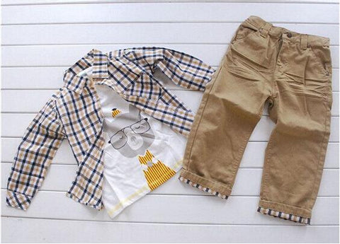 Bear Plaid 3 pieces outfit