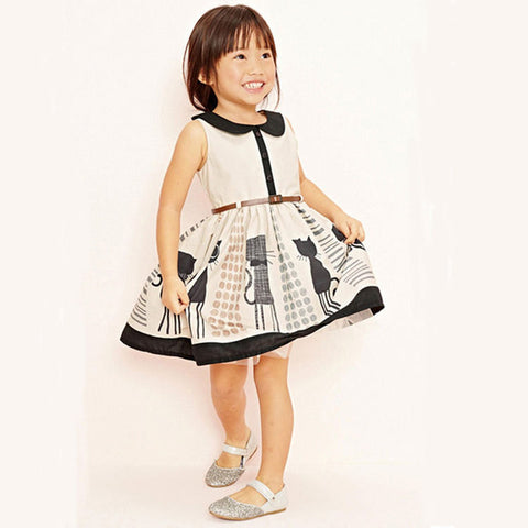Cat lover dress with belt (Kids)