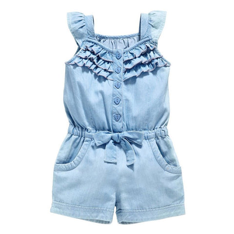 Blue Ruffle Romper (Toddler & Kids)