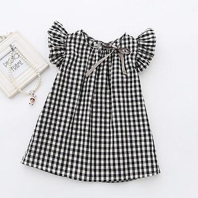 Cindy black and white plaid dress (Kids)
