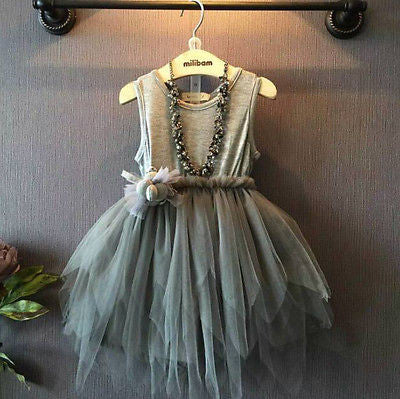 Vintage Grey Party Dress (Necklace not included)