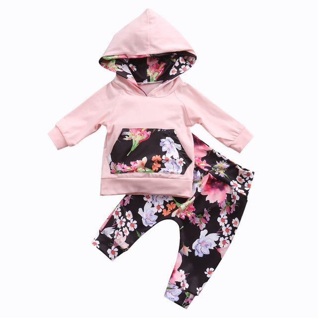 Floral Hooded sweatshirt & pants (Baby)