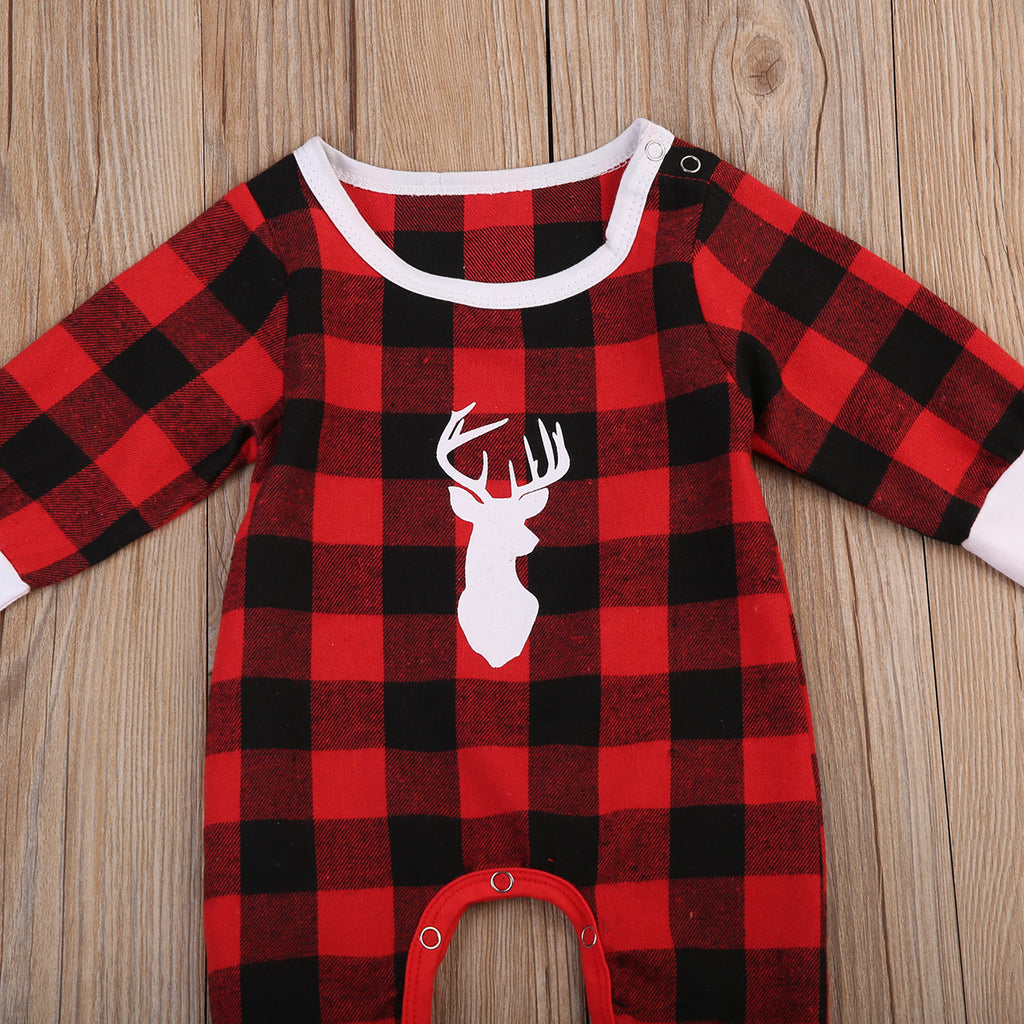 Antler Plaid Long Sleeve Unisex Romper