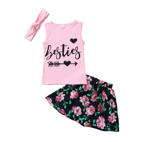 Besties Top & Floral skirt with headband set (Kids)