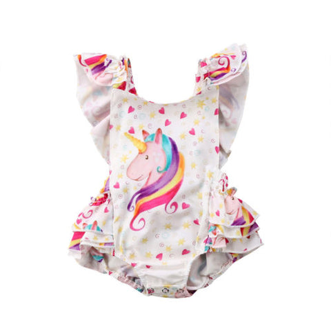 Shelly Unicorn ruffled romper (Baby & Toddler)