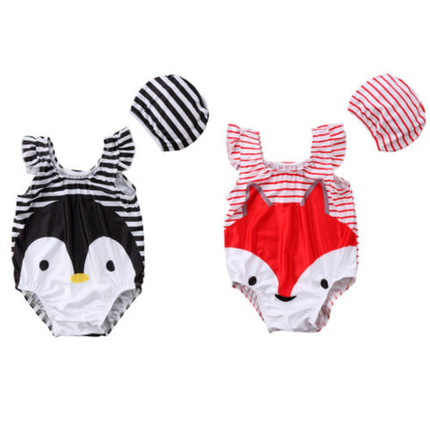 Pinguin or Fox swimsuit with hat set (Kids)